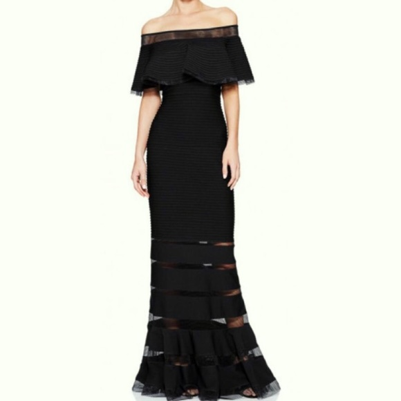 Tadashi Shoji Dresses   Tabora Off Shoulder Gown Petite   Poshmark